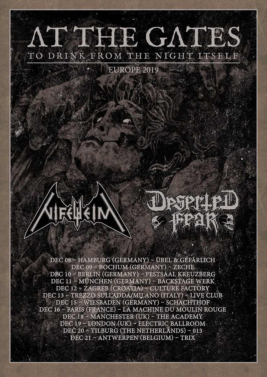 AT THE GATES – European headlining tour in December; North